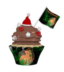leckerer Cupcake zu Weihnachten mit Christbaumkugeln und Weihnachtsmütze.