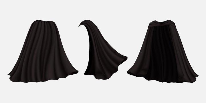 Realistic black cloak set, vector isolated illustration