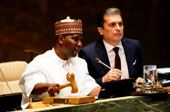 President of the General Assembly Tijjani Muhammad-Bande of Nigeria gavels the opening of the 74th session of the United Nations General Assembly at U.N. headquarters in New York City, New York, U.S.