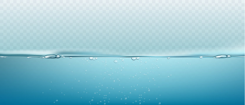Water vector wave transparent surface with bubbles of air. Vector illustration