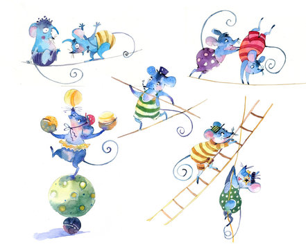 Mice in a circus, watercolor illustration. Drawings on a white background. Set of drawings