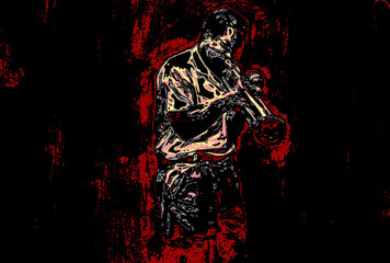 the jazz trumpet player in the flames Wall mural