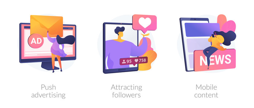 Social media blogger earnings icons set. Ad revenue, network page promotion ways. Push advertising, attracting followers, mobile content metaphors. Vector isolated concept metaphor illustrations.