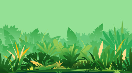 Wild jungle forest plants, nature landscape with green jungle foliage and shrubs growing on ground, horizontal banner with wild tropical plants on sunny day Wall mural