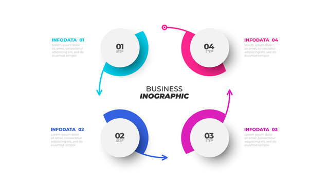 Business process. Vector design template with cycle and abstract circles element with 4 options, arrows, steps.