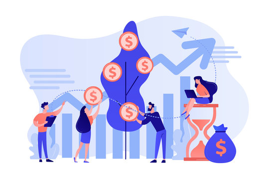 Money investing, financiers analyzing stock market profit. Portfolio income, capital gains income, royalties from investments concept. Pink coral blue vector isolated illustration