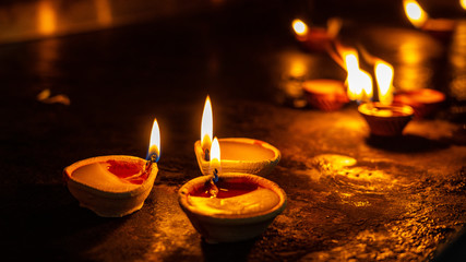 Candles in the Hindu temple in Singapore