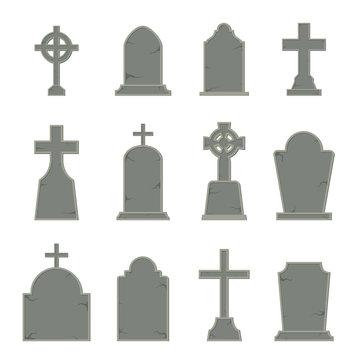 Set of tombstone shape on white background, vector illustration