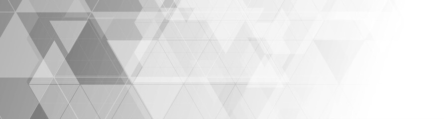 Grey abstract hi-tech low poly geometric banner design. Monochrome futuristic background. Vector illustration