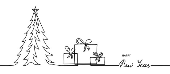 Minimal Happy New Year banner, background. One, continuous line drawing New Year simple banner with christmas tree and presents.