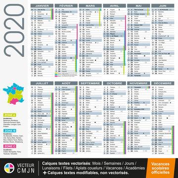 Calendrier français 2020 avec vacances scolaires officielles