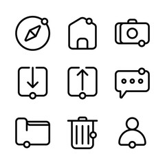 User interface icon including compass, user interface, ui, map, home, user, interface, camera, download, browsing, link, upload