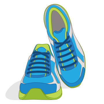 pair of running shoes, blue and green, isolated