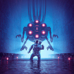 You better run / 3D illustration of science fiction scene showing astronaut trying to escape giant alien robot in watery corridor