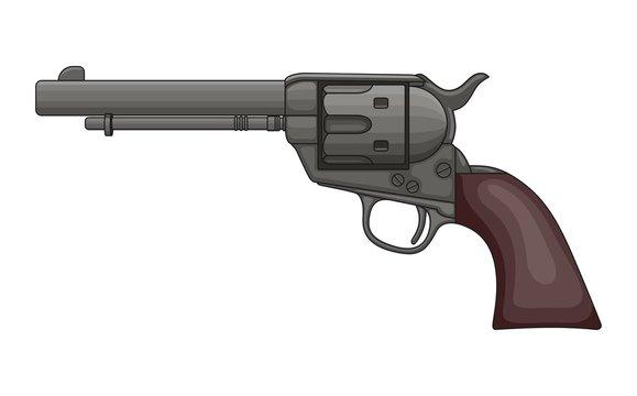 Revolver Pistol on white background. Vintage Colt Revolver Drawing