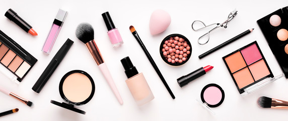 Set of cosmetic products for makeup with natural brushes