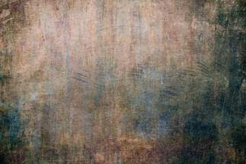 Old blue rusty wall, grungy background or texture