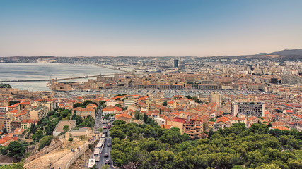 Fototapete - Marseille panorama in the evening