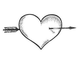 Heart symbol pierced with arrow sketch engraving vector illustration. Romantic love lovesickness symbol. Tee shirt apparel print design. Scratch board imitation. Black and white hand drawn image.