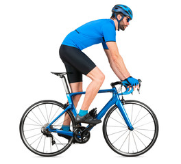 professional bicycle road racing cyclist racer  in blue sports jersey on light carbon race out of the saddle ascent uphill climbing position sport training cycling concept isolated white background