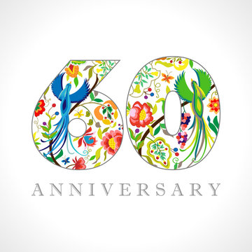 60 years old logotype. 60 th anniversary numbers. Decorative symbol. Age congrats with peacock birds. Isolated abstract graphic design template. Royal colorful digits. Up to 60% percent off discount.