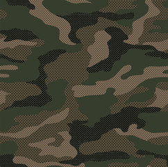 Dot pattern camouflage seamless background in green