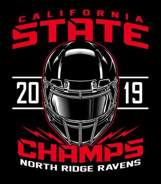 Football helmet state champs graphic illustration