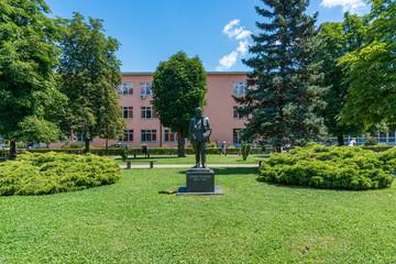 Loznica, Serbia - July 11, 2019: School park (Školski park: serbian) on Jovan Cvijic Square in Loznica. Loznica is a city located in the Macva District of western Serbia.