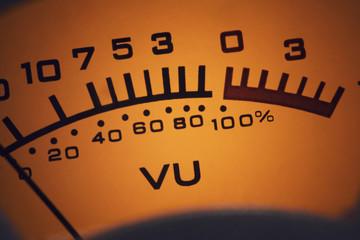 Close up of an analog VU audio meter