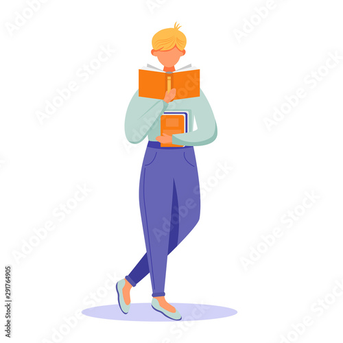 Young Person Reading Book Flat Vector Illustration Student
