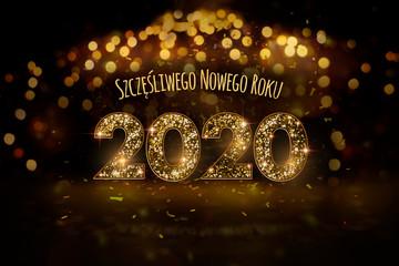 Obraz Sylwester 2020 - Szczęśliwego Nowego Roku, koncepcja kartki noworocznej w języku polskim ze złotym motywem oraz dużym błyszczącym brokatem napisem - fototapety do salonu