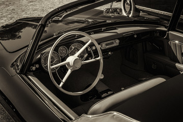 classic convertible car interior