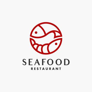 Seafood outline art line style . outline monoline . Monochrome design elements for sea food cafe, restaurant. Vector vintage illustration.