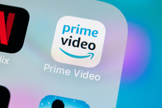 Sankt-Petersburg, Russia, March 15, 2018: Amazon Prime Video application icon on Apple iPhone X screen close-up. Amazon PrimeVideo app icon. Amazon Prime application. Social media network