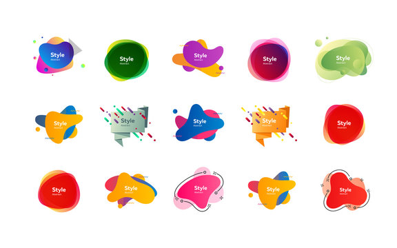 Futuristic colorful abstract elements set. Gradient polygon and blob shapes with sample text. Trendy minimal templates for presentations, banners, posters and flyers. Vector illustration