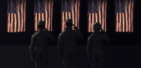 American National Holiday. US Flag background with American stars, stripes and national colors. Soldiers.