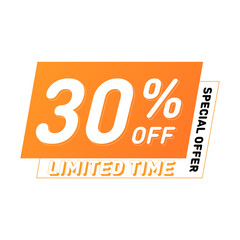 Special offer and limited time sale vector design. 30% off banners. Modern discount poster template