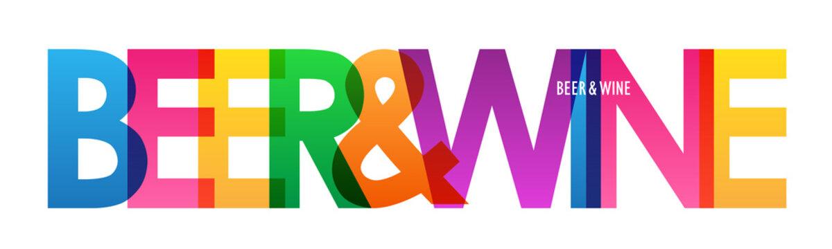 BEER & WINE colorful vector typography banner