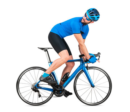 professional bicycle road racing cyclist racer  in blue sports jersey on light carbon race looking back behind.  sport training cycling concept isolated white background