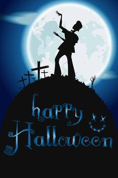 Zombie dancing in the moonlight. Vector Halloween poster. EPS 10