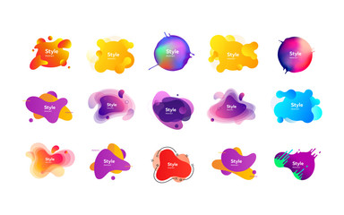 Set of bright creative graphic elements. Dynamical colored forms. Gradient banners with flowing liquid shapes. Template for design of logo, flyer or presentation. Vector illustration