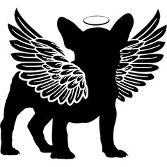 Pet Memorial, Angel Wings French Bulldog Dog  Silhouette Vector