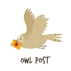 Cute flying owl with a letter. Owl post