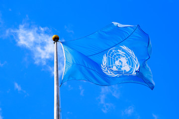 The United Nations flag is seen during the 74th session of the United Nations General Assembly at U.N. headquarters in New York City, New York, U.S.