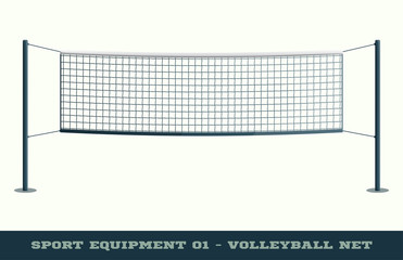 Realistic Volleyball Net for Sport Game, Activity Leisure Isolated on White Background. Vector illustration of Beach Play Element