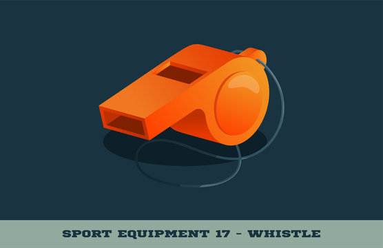Vector orange whistle icon. Game equipment. Professional sport, classic whistle for official competitions and tournaments. Isolated illustration