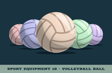 Vector volleyball balls icon. Game equipment. Professional sport, classic vollyball ball set for official competitions and tournaments. Isolated illustration