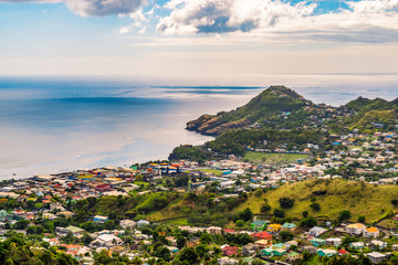 Wall Mural - Saint Vincent and the Grenadines. Landscape and port city of Kingstown.