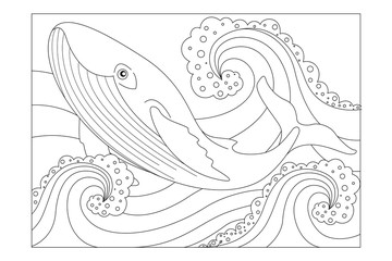 Whale among the ocean waves. Children's picture coloring. Vector