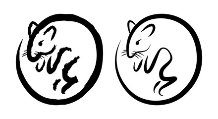 Rat. Ink drawing. Symbol of the year. Year of the rat according to the Chinese calendar. 2020